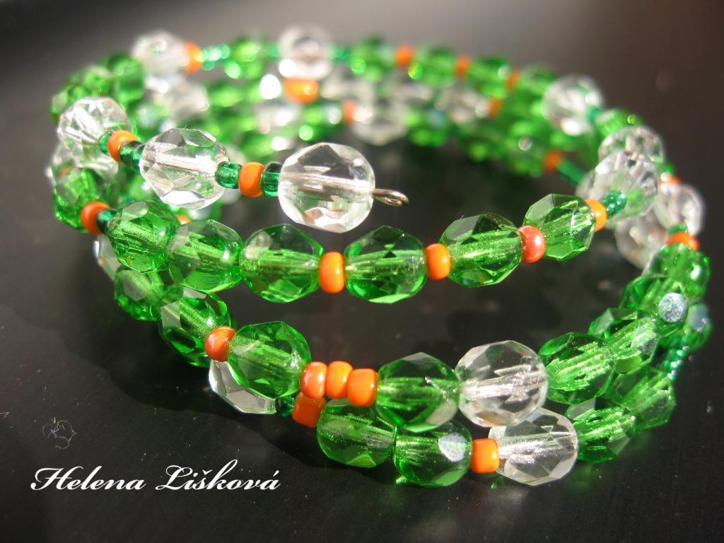 zeleno-oranžový náramek